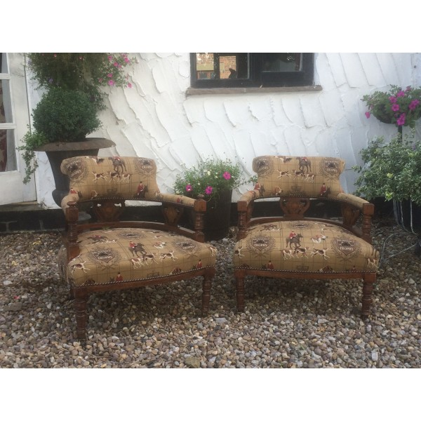 Pair of Victorian Tub Chairs - Hunting with Hounds Fabric