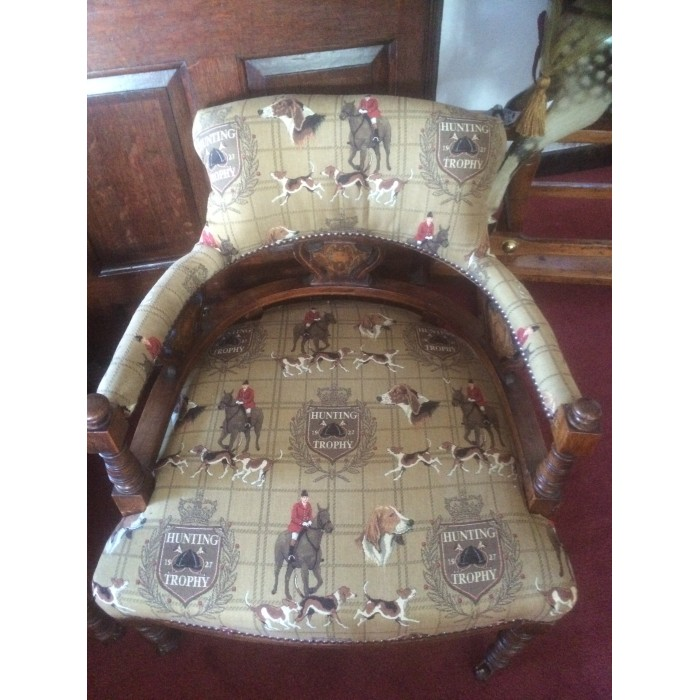 His Hers Pair Of Victorian Tub Chairs With Fox Hunting