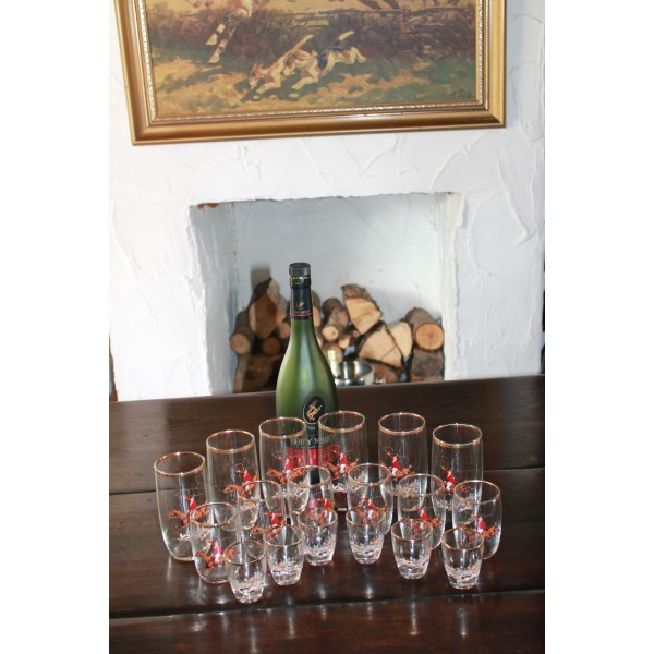 18 Piece Hunting Scene Glassware Set