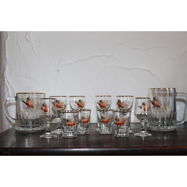 12 Piece set of Pheasant Glasses