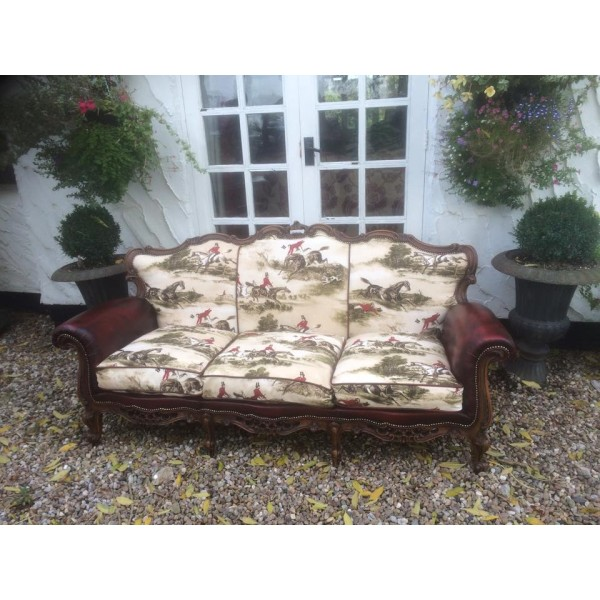 Unique 3 Seater Settee with Hunting Print and Oxblood Leather
