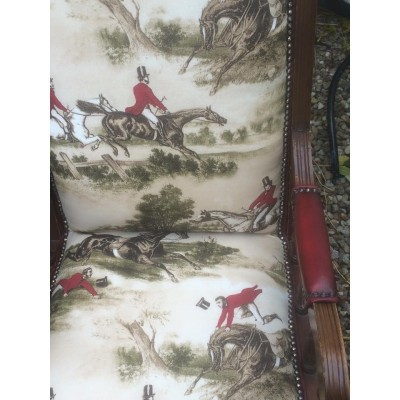 Rocking Chair in Hunting Scene Fabric with Antique Red Leather